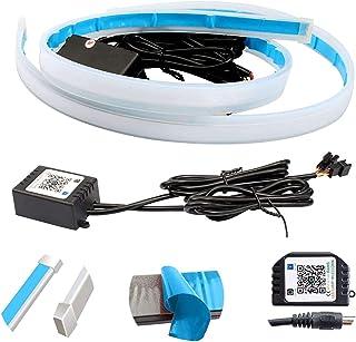 1 Pair 60cm 24 Inch Flexible Car Led Light Strip LED Multi Color Daytime Running Lights RGB Kit for Car Switchback Headlig...