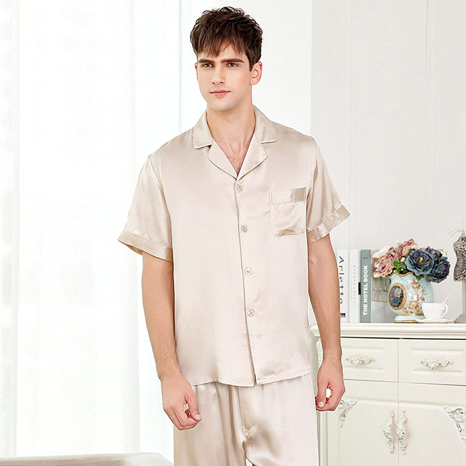 CAICAIL Men's Cotton Pajama Set, Short Sleeve Button-Down Woven Sleepwear Lounge Pjs Set with Pockets