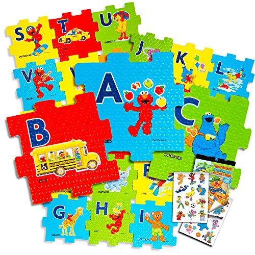 Sesame Street Giant Floor Puzzle for Kids - 3 Foot Foam Puzzle with Bonus Sesame Street Stickers (Sesame Street ABC)