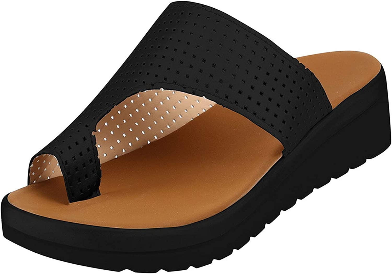 Summer Sandals for Women,Wedges Platform Wide Width Sandals Comfy Casual Beach Travel Middle Heels Shoes