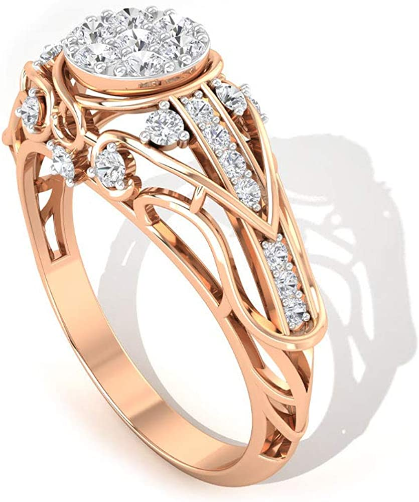 Unique 1/2 CT Round Certified Diamond Engagement Ring, Vintage Bridal Wedding Statement Ring, Gold Engraved Filigree Cocktail Party Stacking Ring Gift, 14K Gold