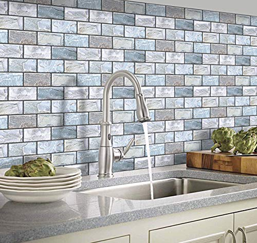 Yoillione Self Adhesive Wall Tiles for Kitchen Backsplash, Vinyl 3D Stick on Tiles Blue Brick Tile Stickers for Bathroom Tile Transfers Waterproof Subway Tiles, 6 Sheets (10'x10.6')