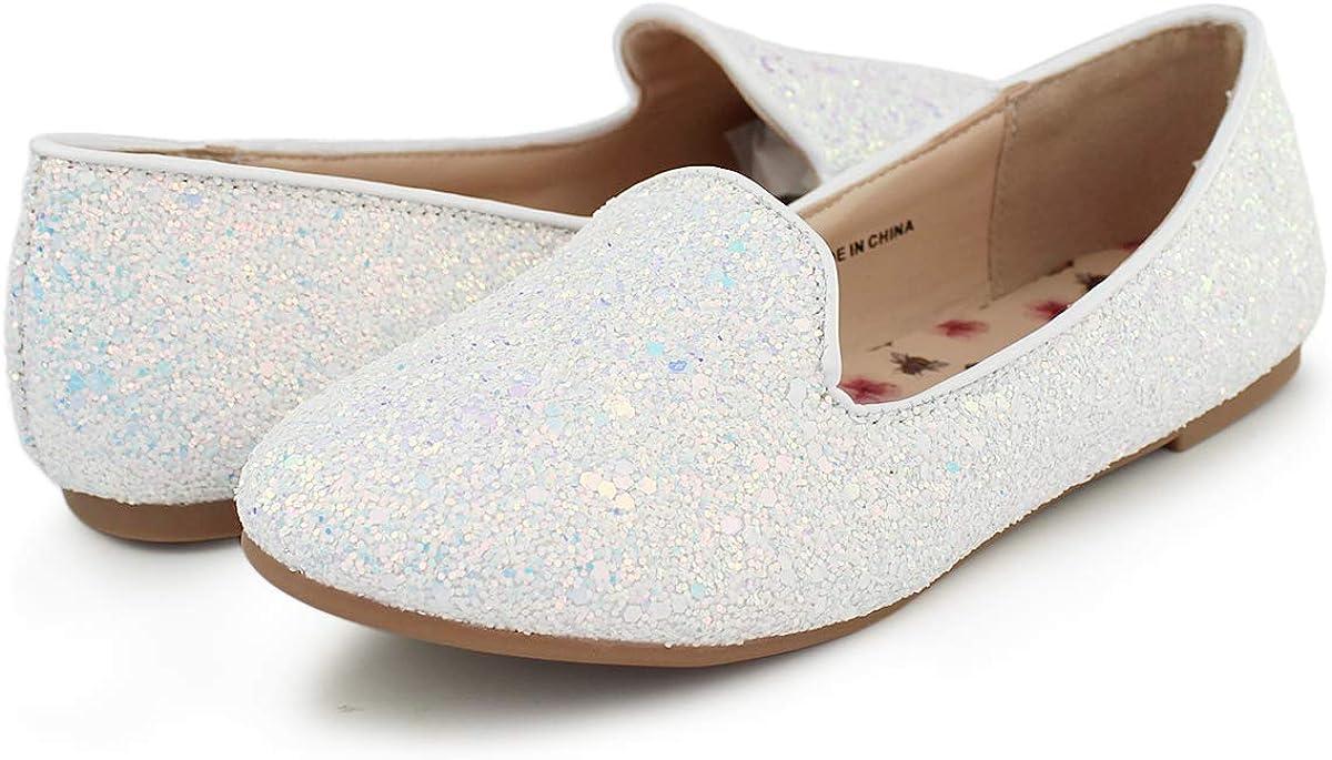 Hawkwell Girls Glitter Slip on Ballerina Flats Mary Jane Dress Shoes(Toddler/Little Kid/Big Kid)