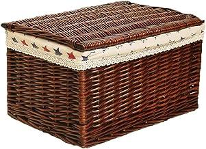 YAYADU Storage Basket Rattan Finishing Box Lid Handle High Capacity Store Book Paper Fruit Toy Magazines For Liyingroom Be...
