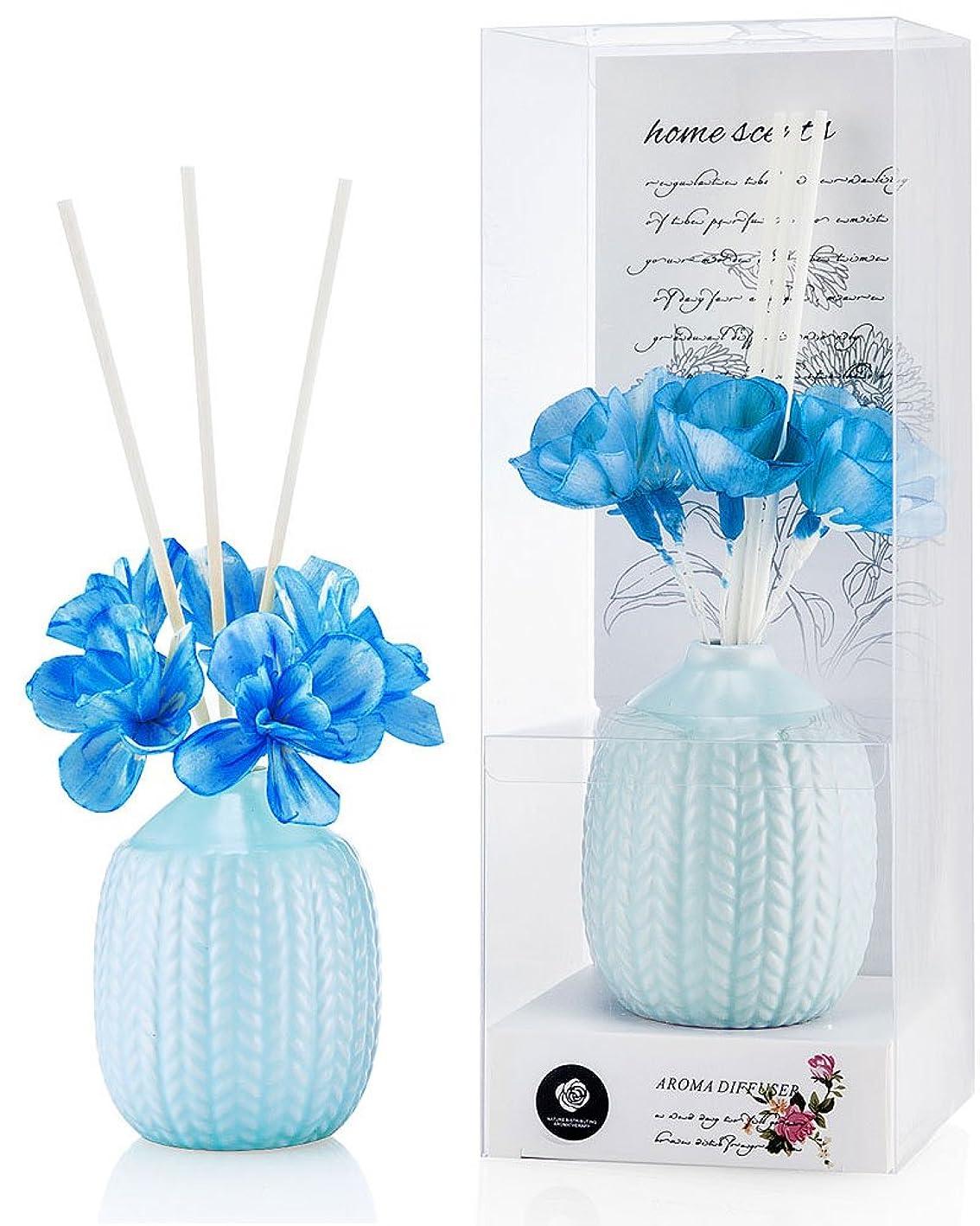 パステルカラー ルームフレグランス /芳香剤 アロマ スティック リードディフューザー (花:青、香り:海洋)