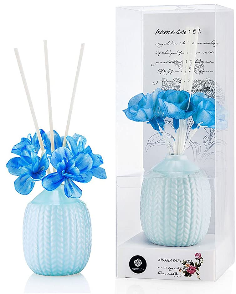 中で粒子の間でパステルカラー ルームフレグランス /芳香剤 アロマ スティック リードディフューザー (花:青、香り:海洋)