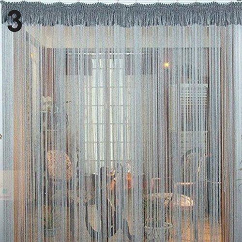 Bluelans® Rideau de fils avec 40 perles pour porte ou fenêtre beauté décoratif séparateur de pièce écran anti-mouches pampille store, Silver, 200cm x 100cm