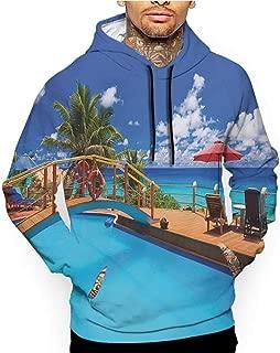 Unisex 3D Novelty Hoodies Sunrise,Magical Horizon Seascape Bay Ocean Coastal Charm Sky Tranquil Summer Image,Orange and Blue,Oversized Sweatshirts for Women
