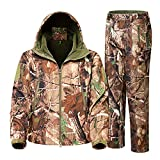 ZGCAMRI Herren Camouflage Hide Jagdkleidung Wasserdicht Winddicht Jacke & Hose Polar Fleece Kapuzenjacke Warme Jacke - - Large