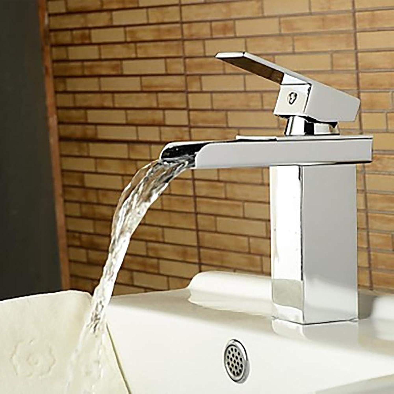 Durable Stereo Wasserhahn Bad Armatur Silber Moderne Wasserfall Einlochbatterie Wasserhahn mit praktischem Hotelgriff