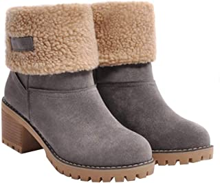 Loosnow Women Snow Boots Suede Thickened Cotton Thick Sole Middle Heels Winter Shoes