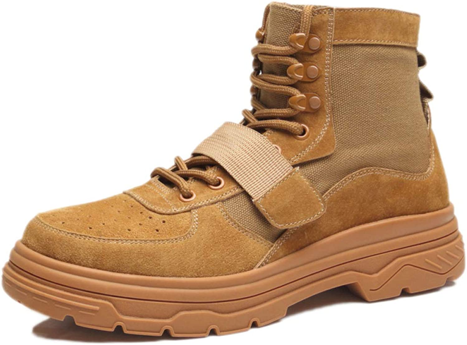 Snfgoij Safety shoes Men Trainers Waterproof Lightweight Walking Martin Boots Ankle Boots High Cut Leather Military Boots,Brown-39