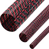 3 Pieces Cord Protector Wire Loom Tubing Cable Sleeve Split Sleeving for USB Charger Cable Cord Cover Audio Video Cable (Black with Red,1/2 Inch, 1/4 Inch, 3/4 Inch)