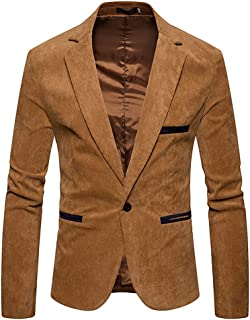 GUOCU Men's Casual Suit Jacket Stylish Corduroy Blazer Jacket Slim Fit One Button Lightweight Sport Coats Retro Notched La...