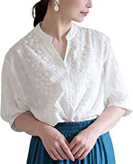 [サワ アラモード] 小花 刺繍 ぽわん 袖 コットン トップス レディース