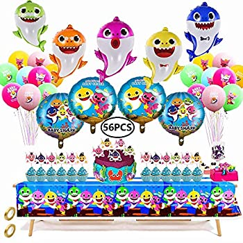 56 Pcs Baby Shark Birthday Decorations for Kids Baby Shark Themed Party Set Shark Family Balloons Tablecloth Cake Toppers For 1st 2nd 3rd Birthday Party Baby Shower Party Supplies