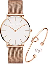 Women's Analog Quartz Rose Gold Watch with Stainless Steel Mesh Strap Ladies Watch Simple and Elegant with Bracelet Gift