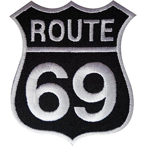 Ruta 69parche hierro Sew en bordado Highway Road Sign motorista insignia América Estados Unidos