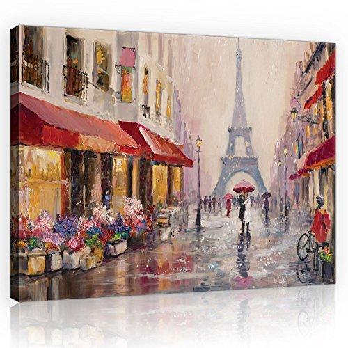 FORWALL Welt-der-TräumeWANDBILD CANVASBILD Wandbild Leinwandbild Kunstdruck Canvas | Paris | O4 (60cm. x 40cm.) | Canvas Picture Print PP11512O4-MS | Stadt Paris Gemälde Frankreich Kunst Eiffelturm