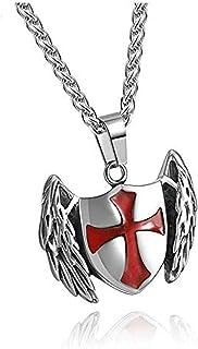 Collar 1X Hombres S Colgante de Acero Inoxidable Caballeros Templarios Cruz/Cruzado San Miguel Arcángel Colgante Collar Jo...