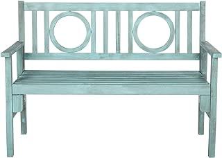 Safavieh Outdoor Collection Piedmont Folding Bench, Beach House Blue