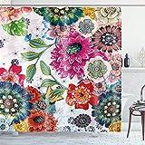 Ambsunny Boho Bohemian Floral Duschvorhang Bunte Blumen Frühling Pflanzen Indian Artwork Stoff Badezimmer Dekor Set mit 12 Haken 152,4 x 180,9 cm, Rot Grün Gelb
