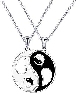 S925 Sterling Silver Best Friend Necklaces Heart 2 Piece Gifts Women Teen Girls Friendship BFF Pendant Necklace Set