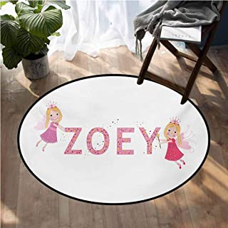 Zoey Office Floor mats Feminine Themed Baby Girl Name Magic Creatures Calligraphic Alphabet Letter Design Corridor Rug D72 Inch