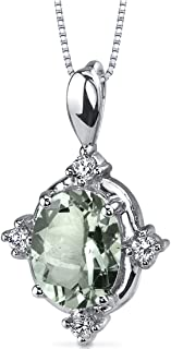 Green Amethyst Pendant Necklace Sterling Silver 1.50 Carats CZ Accents