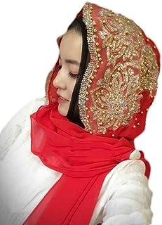 kaaka Accessory Fashion Women Bead Decor Islam Muslim Ramadan Hijab Wrap Shawl Scarf Red
