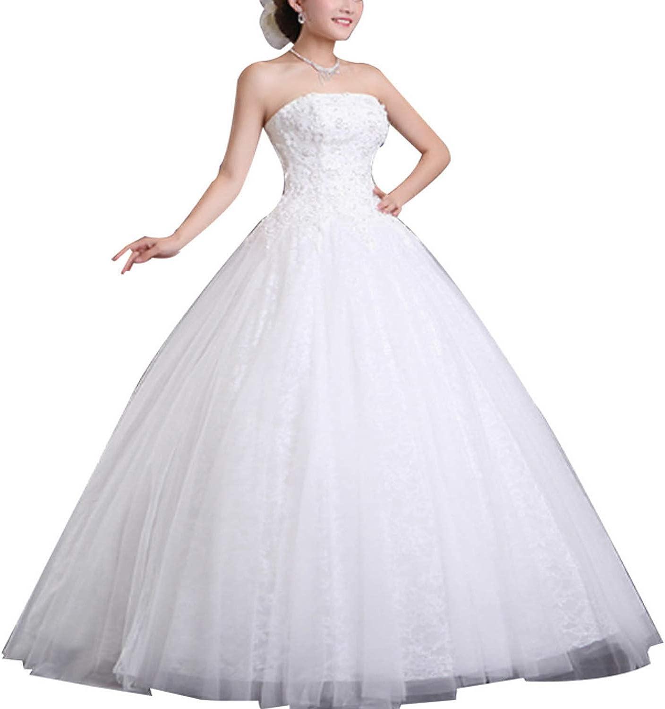 Bridal Wedding Dress with Lace Applique Strapless Beach Wedding Dress (Size   XXXL)