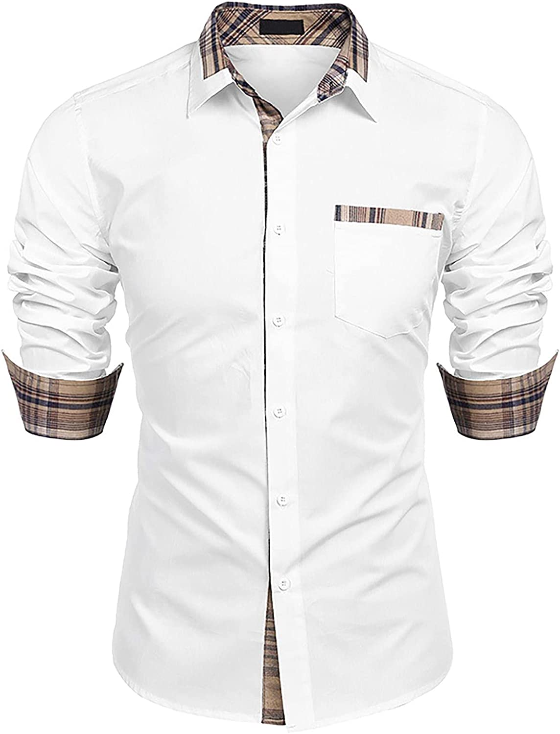 viwoMUMO Men's Button Down Slim Fit Casual Sleeve Discount Cheap mail order shopping mail order Long Plaid Shi