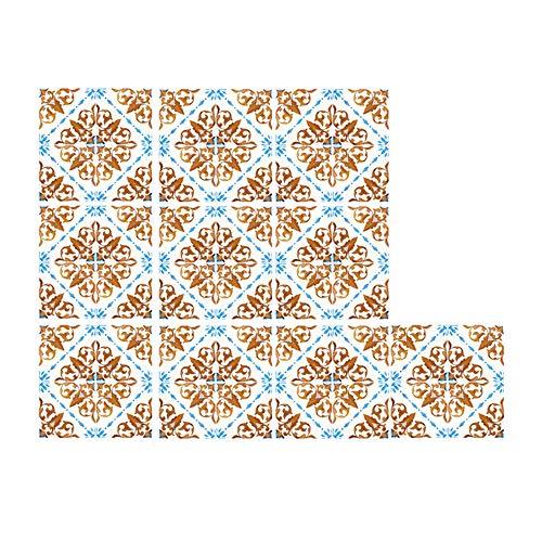 EasyLife 10 pegatinas para azulejos de pared con lentejuelas para decoración del hogar, 20 x 20 cm, impermeables y autoadhesivas, para cocina y baño(D05)