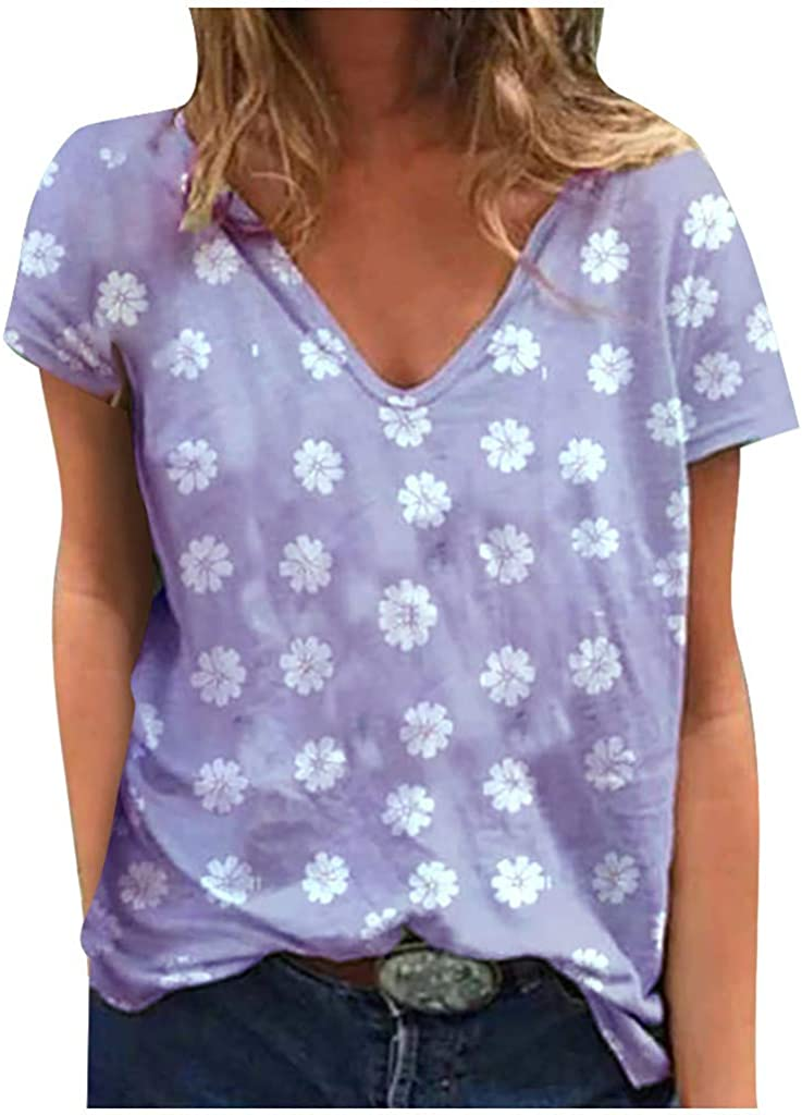 Short Sleeve T-Shirts for Women, Women's Casual Summer Flower Graphic Solid Color Tees Loose Tunic Shirts Blouse Tops