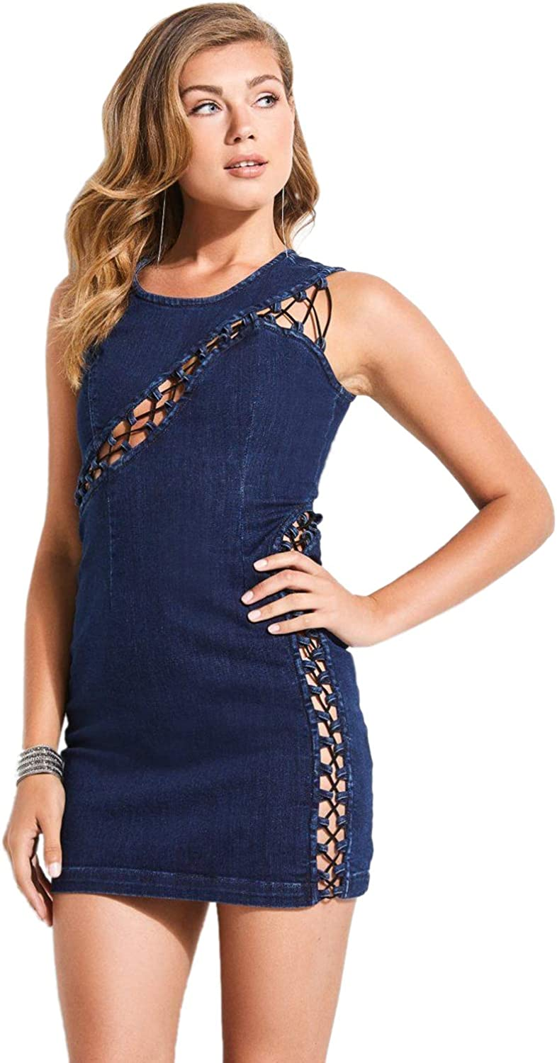 GUESS Women's Lace Up Bodycon Dress
