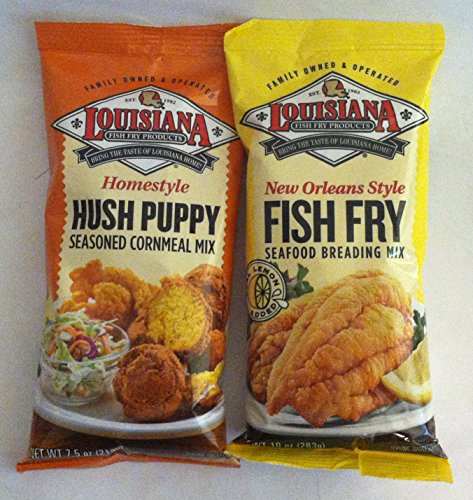 Louisiana Fish Fry Duo - 1 each of Hush Puppy Cornmeal Mix and New Orleans Style Fish Fry Seafood Breading Mix