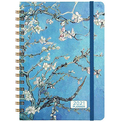 2021 Planner - 2021 Weekly & Monthly Planner Jan - Dec with Flexible Hardcover, 8.46' x 6.37', Strong Twin- Wire Binding, 12 Monthly Tabs, Inner Pocket, Elastic Closure