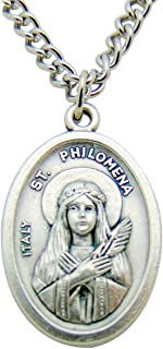 Westman Works Patron Saints Silver Tone Metal Pendant 3/4 Inch Long Italian Medal with Chain