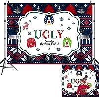 新しい醜いプルクリスマスパーティー写真背景タッキーエルク写真背景クリスマスエルフホリデー新年あけましておめでとうございます誕生日パーティーの装飾ベビーシャワースタジオ小道具バナービニール7x5ft