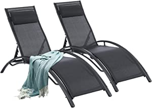 Outdoor Lounge Chairs Patio Chairs Set of 2 Outdoor ChairAdjustable Chaise Lounge 5-Level Pool Chairs with Headrest for Beach, Pool Black