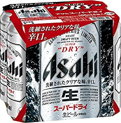Asahi Super Dry Beer Can, 500ml, (Pack of 6)