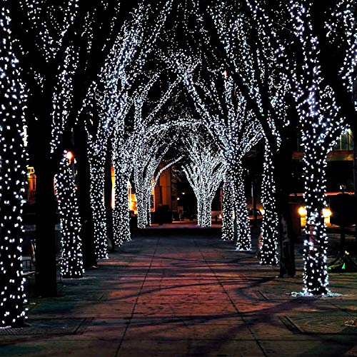 JMEXSUSS 2 Pack Solar String Lights 200LED 75.5ft 8 Modes Solar Christmas Lights Waterproof for Gardens, Wedding, Party,Christmas Tree,Curtains,Outdoors (200LED-White-2Pack)