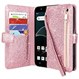 Lacass Slim Flip Zipper Pocket Purse Leather Wallet Case Cover Stand Feature with Card Holder and Wrist Strap for AT&T AXIA QS5509A / Cricket Vision DQON5001 (Glitter Rose Gold)