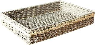 Bacs de rangement, petite boîte de conteneur de panier en osier de bureau portatif de tissage léger et robuste pour les ar...