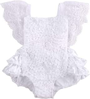 Newborn Baby Girl Cake Smash Outfit One Piece Lace Sleeveless Backless Tutu Bodysuit Romper Clothes