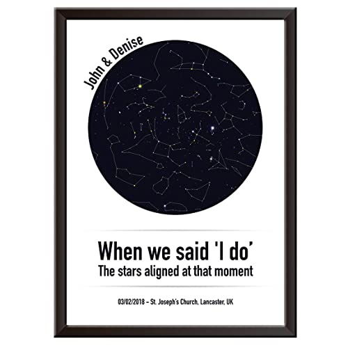 PERSONALISED Sky/Star Map Print - I DO Wall Art Poster. Unique gift idea