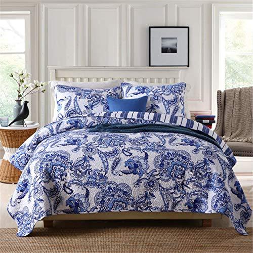 Flores de porcelana azul y blanca colcha doble king size 3 pieza elegante acolchada colcha 230x250cm azul floral king size king saqueos cama lanza con 2 fundas de almohadas