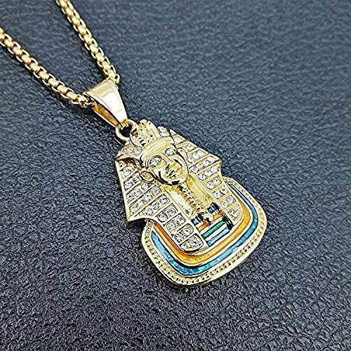 NC190 Hip Hop Or Hommes Femmes Charme Strass Pharaon égyptien Colliers Hip Hop Bling chaînes dernier Roi Bijoux Cadeaux pendentifs 60Cm