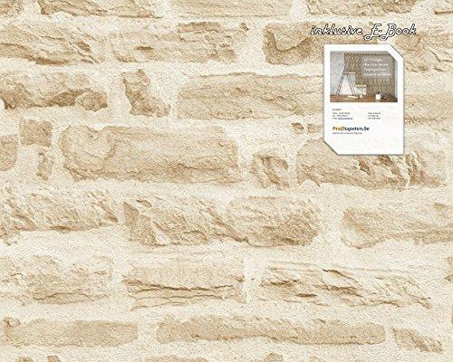 Tapete 355802 Kollektion Best of Wood`n Stone inklusive E-Book und Kleister, Stein, Mauer, Sandfarben, 35580-2, A.S. Création Vliestapete