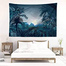 Sunnyhome Tapestry Hippie,Jungle Tiger in Hazy Rainforest,Large Tapestry,W80x60L